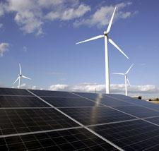 Large windmills and solar panels are seen Monday, Oct. 6, 2008, in Atlantic City, N.J. (AP Photo/Mel Evans)