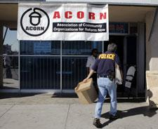 An investigator enters the ACORN office in Las Vegas, Oct. 7, 2008. (AP)
