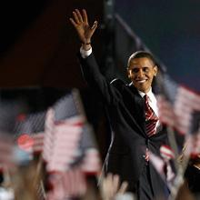 President-elect Barack Obama in Chicago's Grant Park on election night, Tuesday, Nov. 4, 2008.