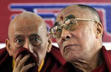 The Dalai Lama, right, confers with Samdhong Rinpoche, Prime Minister of the Tibetan government-in-exile, in Dharmsala, India, Nov. 20, 2008. (AP)