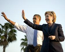 Hillary Clinton and Barack Obama at a rally in Tampa, Florida, on October 20, 2008. (David Katz/Obama for America)