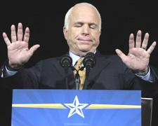 Sen. John McCain gestures as he delivers his concession speech at an election night rally in Phoenix, Arizona, Nov. 4, 2008. (AP)