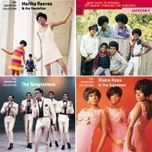 Clockwise from top, Motown albums by Martha Reeves and the Vandellas, the Jackson 5, The Temptations, and Diana Ross & the Supremes.