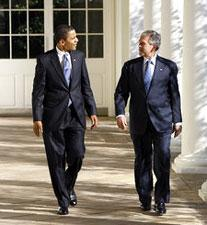 President George W. Bush and President-elect Barack Obama walk the Colonnade to the Oval Office on Monday, Nov. 10, 2008. (Photo: Eric Draper)