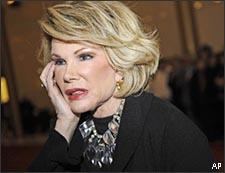 Comedian Joan Rivers arrives for the 11th Annual Mark Twain Prize for Humor, honoring the late George Carlin, at the Kennedy Center in Washington on Monday, Nov. 10, 2008. (AP)