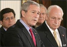 President Bush speaks at the White House prior to signing the Military Commissions Act of 2006. From left are Attorney General Alberto Gonzales, the president, Defense Secretary Donald H. Rumsfeld, and Vice President Dick Cheney. (AP)