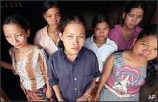 Cambodian prostitutes at a Phnom Penh slum house, in July 2002. (AP)