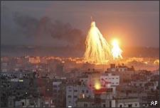 Fire and smoke is seen from Israeli miltary operations in Gaza City, Thursday, Jan. 8, 2009. (AP)