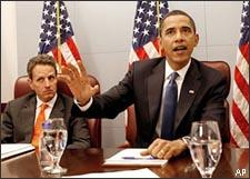 Treasury Secretary-designate Timothy Geithner looks on, at left, as President-elect Barack Obama meets with members of his economic team at his transition office in Washington on Jan. 5, 2009. (AP)
