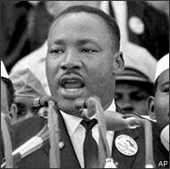 "In this Aug. 28, 1963, photo Dr. Martin Luther King Jr. addresses marchers during his ""I Have a Dream"" speech at the Lincoln Memorial in Washington. (AP)"