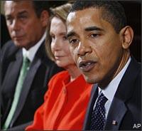 President Barack Obama speaks to reporters during a meeting about the economy with Congressional leaders, Friday, Jan. 23, 2009, in the Roosevelt Room of the White House in Washington. From left are, House Minority Leader John Boehner of Ohio, House Speaker Nancy Pelosi of Calif. and the president. (AP)