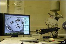 An image of President-elect Barack Obama made using nanotechnology, and imaged using a scanning electron microscope are shown in Ann Arbor, Mich., on Oct. 31, 2008. The face consists of millions of vertically-aligned carbon nanotubes, grown by a high temperature chemical reaction. (AP Photo/John Hart)
