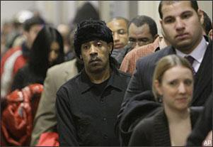 Job seekers queue up to attend a job fair on Jan. 27, 2009, in Chicago. The U.S. unemployment rate, issued earlier this month, jumped to a 16 year high of 7.2 percent in December. (AP)