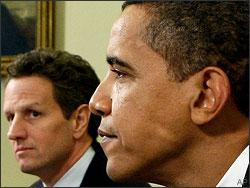 President Barack Obama, right, and Treasury Secretary Tim Geithner speak with reporters as they meet in the Oval Office of the White House in Washington Thursday, Jan. 29, 2009. (AP)