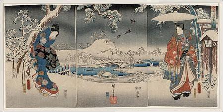 Ukiyo-e triptych print, a joint work of Utagawa Kunisada (1786-1865) and Utagawa Hiroshige, identified as a modern version of the Tale of Genji in snow scenes. (Library of Congress/Wikimedia Commons)