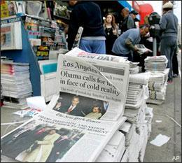 Newspapers are sold on Jan. 21, 2009, in the Studio City area of Los Angeles. (AP)