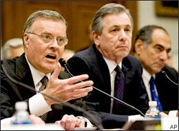 From left, Bank of America Chairman and CEO Ken Lewis; State Street Corporation Chairman and CEO Ronald E. Logue; and Morgan Stanley Chairman and CEO John Mack testify on Capitol Hill, Wednesday, Feb. 11, 2009. (AP)
