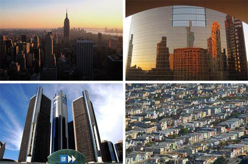 Clockwise from top left: The New York City skyline (photo: KristinaMay/Flickr), the Phoenix skyline (photo: im_me/Flickr), the Renaissance Center, Detroit (photo: nicole st. john/Flickr), and San Francisco (pbo/Flickr)