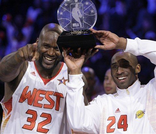 Western Conference All-Stars Shaquille O'Neal (left) of the Phoenix Suns and Kobe Bryant (right) of the Los Angeles Lakers shared the MVP award after the NBA All-Star game. Shaq and Kobe have had a drama-filled relationship since O'Neal left the Lakers in 2004. (AP Photo)