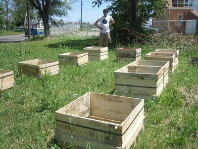 Garden boxes in a Detroit neighborhood that a group of artists is trying to rejuvinate. (The Powerhouse Project)