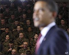 Marines listen as President Barack Obama speaks about combat troop reductions in Iraq as he addresses military personnel at Marine Corps Base Camp Lejeune, N.C., Friday, Feb. 27, 2009. (AP)