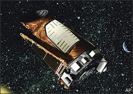 This artist rendition provided by NASA shows the Kepler space telescope. Kepler is designed to search for Earth-like planets in the Milky Way galaxy. The first opportunity to launch the unmanned Kepler space telescope aboard a Delta II rocket from the Cape Canaveral Air Force Station in Florida is Friday March 6, 2009 at 10:48 p.m. EST. (AP)