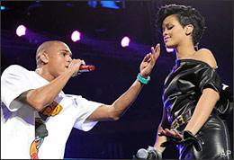 Singers Rihanna and Chris Brown perform at the Z100 Jingle Ball 2008 at Madison Square Garden on Friday, Dec. 12, 2008 in New York. (AP)