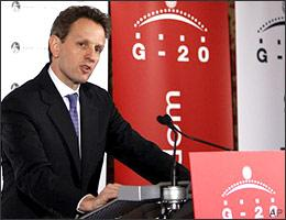 "U.S. Treasury Secretary Timothy Geithner talks at a press conference at the G-20 Finance Ministers meeting near Horsham, England, on March 14, 2009. Finance officials from the world's richest and leading developing countries pledged a ""sustained effort"" to restore the global economy to growth. (AP)"