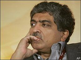 Infosys Technologies Ltd. co-chairman Nandan Nilekani, looks on at the National Association of Software and Service Companies (NASSCOM) India Leadership Forum 2009 in Mumbai, India, Wednesday. Feb. 11, 2009. (AP)