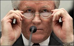 AIG Chairmen Edward Liddy looks over the top of his glasses prior to testifying on Capitol Hill in Washington, Wednesday, March 18, 2009, before the House Capital Markets, Insurance and Government Sponsored Enterprises subcommittee. (AP)