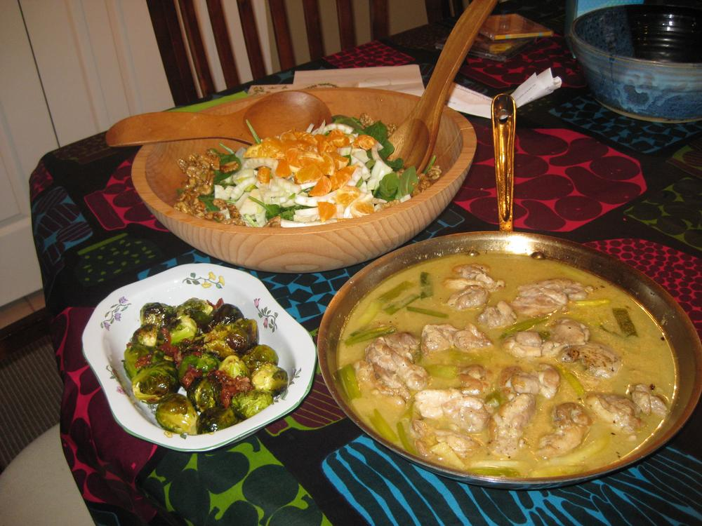 (Kathy Gunst) Winter salad, roasted brussel sprouts and braised chicken.