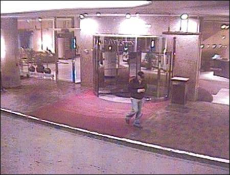 "A video surveillance camera at the Westin Hotel on April 15 shows a ""person of interest"" in attacks on two masseuses-for-hire at luxury hotels. Police have now charged a Boston University medical student with the crimes. (AP Photo)"
