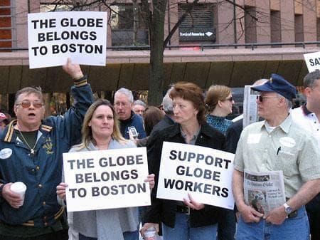 Boston Globe union members rallied at Faneuil Hall on Friday. (Monica Brady-Myerov/WBUR)