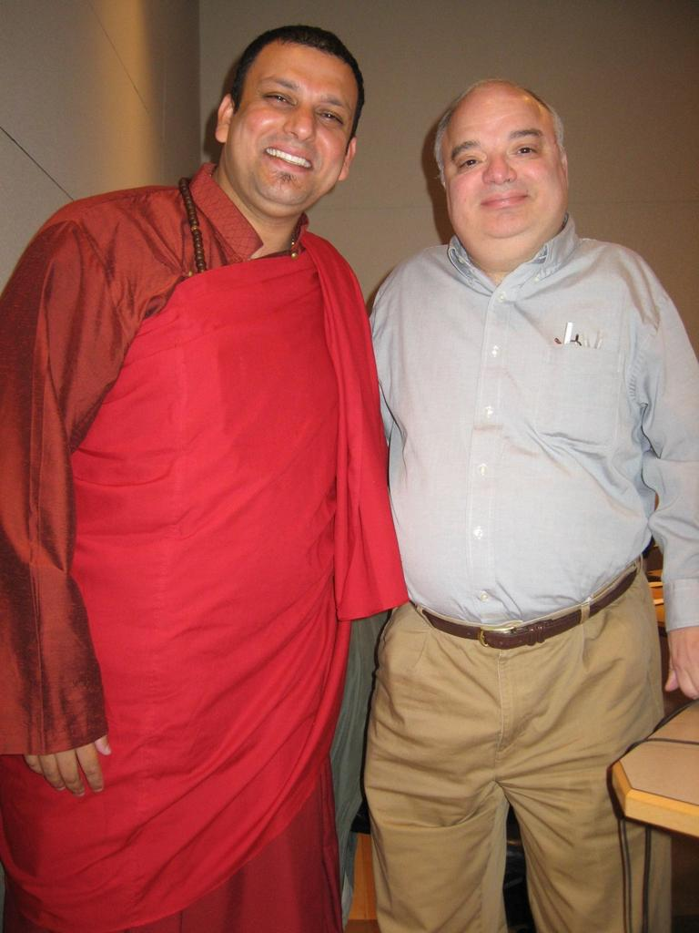 Tenzin Priyadarshi, Buddhist chaplain of MIT, with WBUR's Bob Oakes. (WBUR)