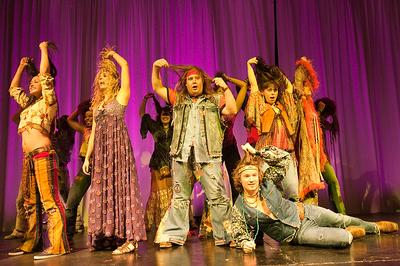 A dress rehearsal for a gala performance of 'Hair.' (Michael J. Lutch)
