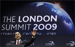 President Barack Obama gestures during a press conference at the end of the G20 Summit at the Excel centre in London on April 2, 2009. (AP)