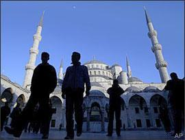 People are seen in front of the Blue Mosque in Istanbul, Turkey, on Saturday, April 4, 2009. President Obama visited the mosque on Tuesday. (AP)