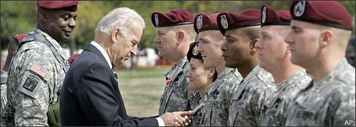 Vice President Joe Biden awards the Bronze Star to Maj. Lisa Garcia during a welcome home ceremony at Fort Bragg, N.C., Wednesday, April 8, 2009. Biden welcomed home the XVIII Airborne Corps from Iraq after their second deployment. (AP)