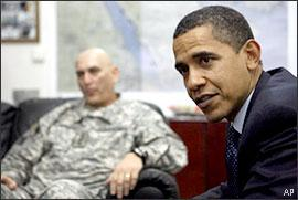 President Barack Obama meets with Gen. Ray Odierno at Camp Victory in Baghdad, Iraq, Tuesday, April 7, 2009. (AP)