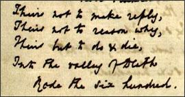 """A detail from the manuscript of Alfred Lord Tennyson's """"Charge of the Light Brigade"""" (Univ. of Virginia). Click on the image to see the full page."""