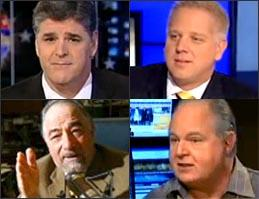 Clockwise from top left: Sean Hannity, Glenn Beck, Rush Limbaugh, Michael Savage.