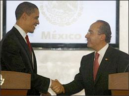President Barack Obama shakes hands with Mexican President Felipe Calderon at the end of a joint news conference at the Los Pinos presidential residence on April 16, 2009 in Mexico City. President Obama is in Mexico for a brief official visit on his way to attend the Summit of the Americas in the Caribbean. (AP)