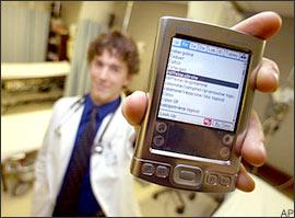 Brown University medical student Jeremy Boyd displays his personal digital assistant, or PDA, Friday, Feb. 17, 2006, at Memorial Hospital in Pawtucket, R.I. (AP)