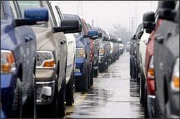 Dodge Ram trucks are seen on a lot across from the Warren Truck Assembly in Warren, Mich., on Feb. 18, 2009. (AP)