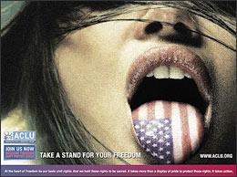 """""""Take a Stand for Your Freedom"""" (ACLU advertisement. Click for larger image at aclu.org.)"""