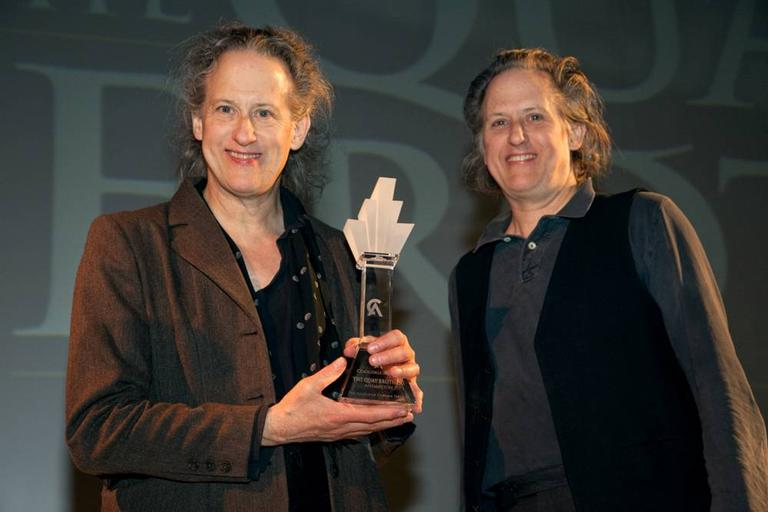 The Quay Brothers accepting the 2009 Coolidge Award, honoring film artists whose work advances the spirit of original and challenging cinema. (David Fox)