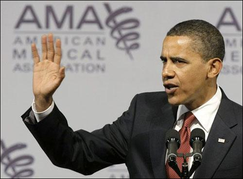 President Barack Obama addresses the American Medical Association during their annual meeting in Chicago on Monday, June 15, 2009. (AP)