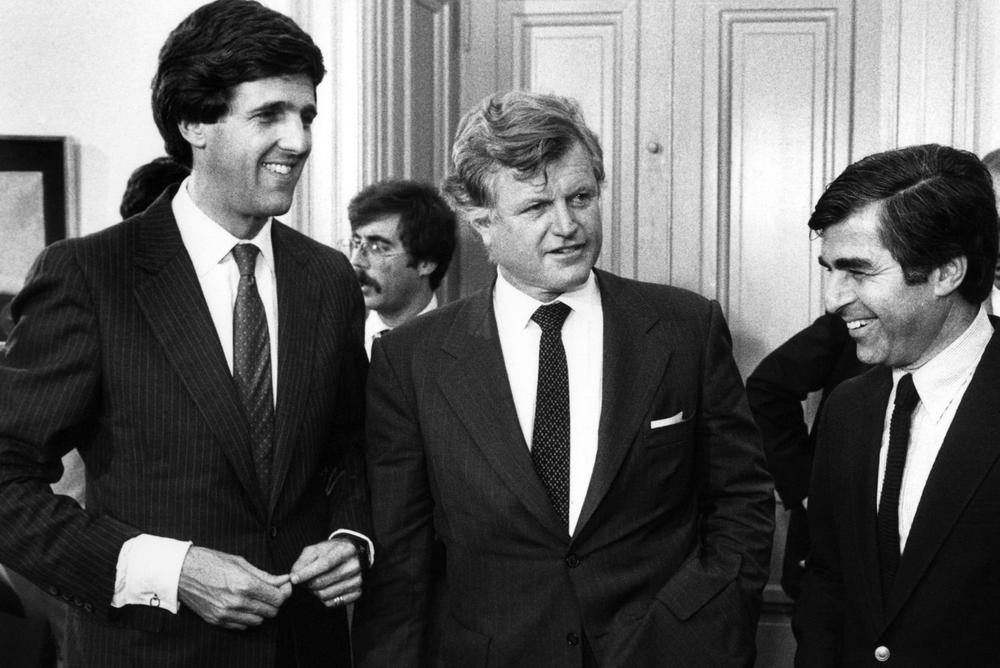 Sen. John Kerry, left, with Sen. Edward M. Kennedy and then gubernatorial candidate Michael Dukakis in 1982. (AP)