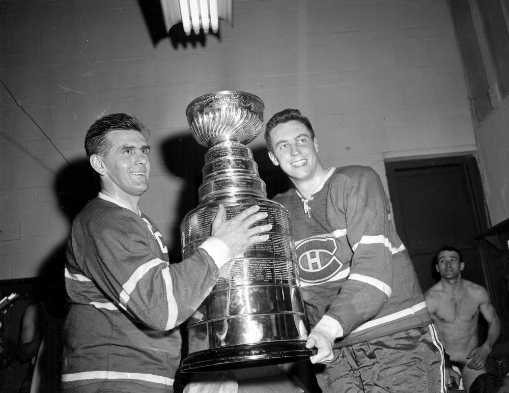 Maurice Richard celebrates the Canadiens' 1958 Stanley Cup victory.