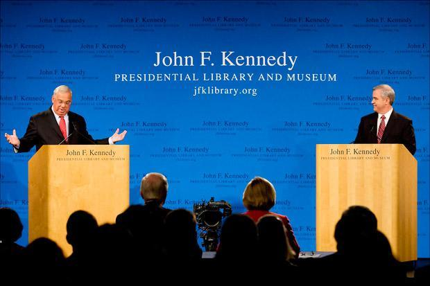 Mayor Tom Menino and City Councilor Michael Flaherty debated at the John F. Kennedy Presidential Lirary in Dorchester on Monday. (Pool photo by Yoon Byun/The Boston Globe)